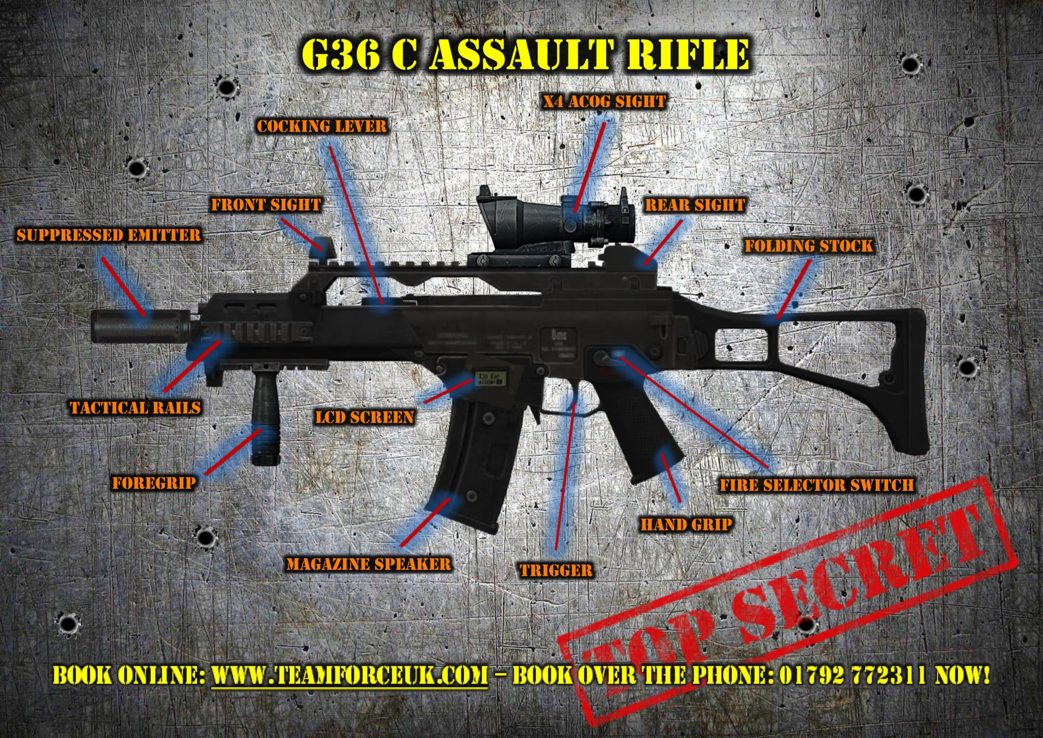 Check out the features of our awesome G36 Laser Tag Assault Rifle.